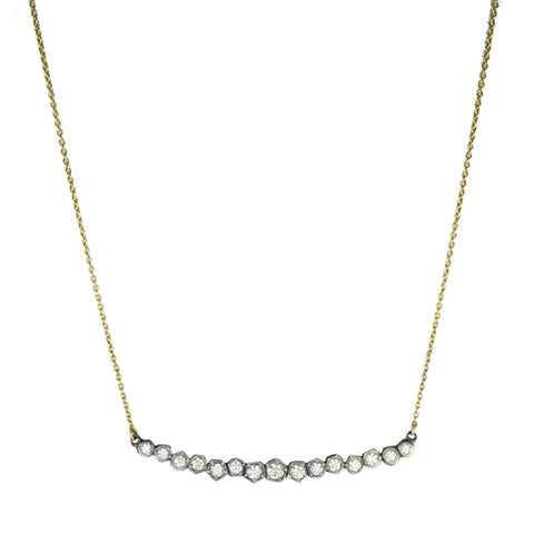 Annie Fensterstock Mixed Metal Diamond Bar Necklace