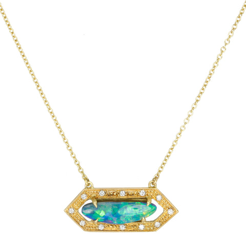 Annie Fensterstock Opal Necklace with Pave Diamond Hexagonal Halo