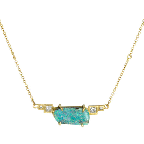 Annie Fensterstock Prong-Set Opal Necklace with Princess Cut Diamonds