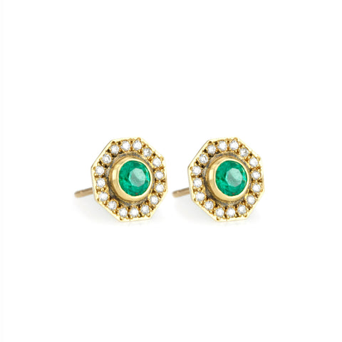 "Annie Fensterstock Gold ""Halo"" Stud Earrings with Emeralds and Diamonds"