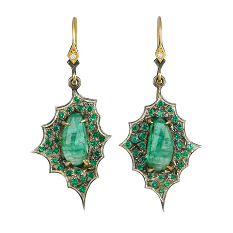 22K Gold and Blackened Sterling Silver Emerald Earrings with Diamonds