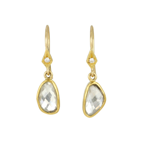 22K Gold White Sapphire Earrings with Diamond Detail
