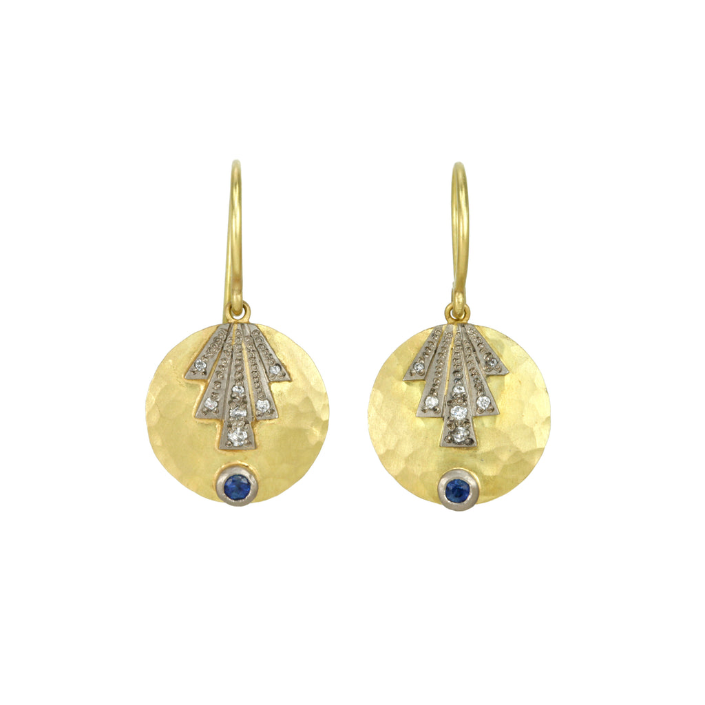 "Gold and Blue Sapphire ""Fan Disc"" Earrings with Diamonds"