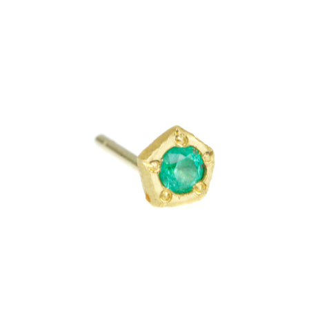"""Rock Stud"" Earring with Bezel-Set Emerald"