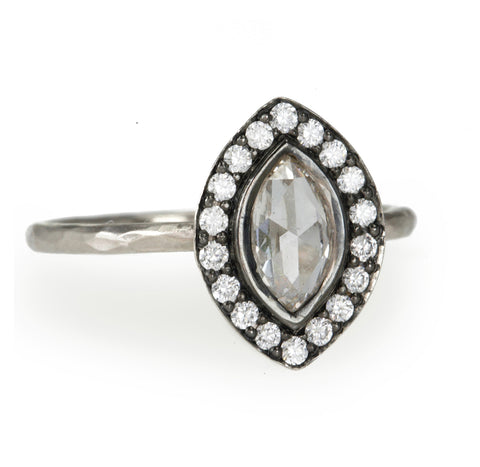 Blackened White Gold Marquise Diamond Halo Ring