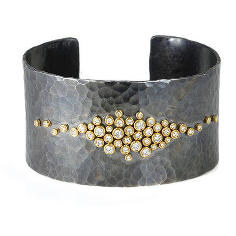 Oxidized Sterling Silver Cuff with 22K Gold and Diamonds