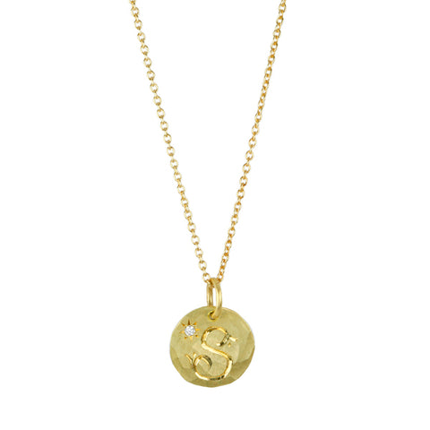 "Annie Fensterstock Gold ""S"" Initial Necklace with Diamond"