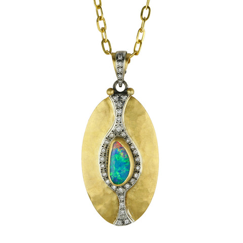 "22K Opal ""Chalice"" Pendant with Diamonds"