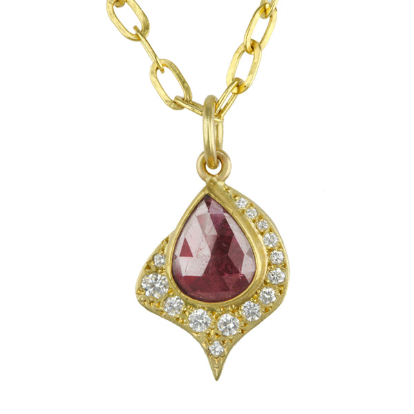 "Gold and Ruby ""Spade"" Pendant with Diamonds"