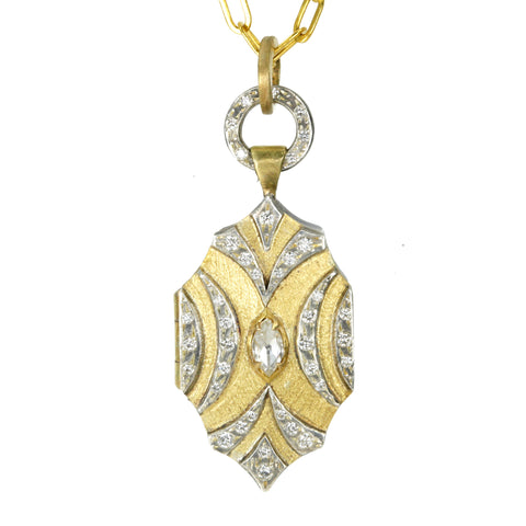 "22K Gold and Sterling Silver ""Tulip"" Locket with Diamonds"