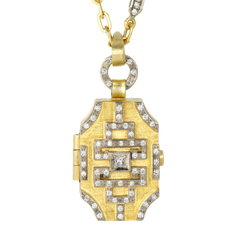 "Annie Fensterstock 22K and 18K Gold and Diamond ""Geo"" Locket Pendant"