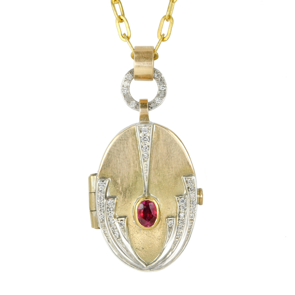 "Annie Fensterstock Gold and Silver ""Deco"" Locket with Ruby and Diamonds"