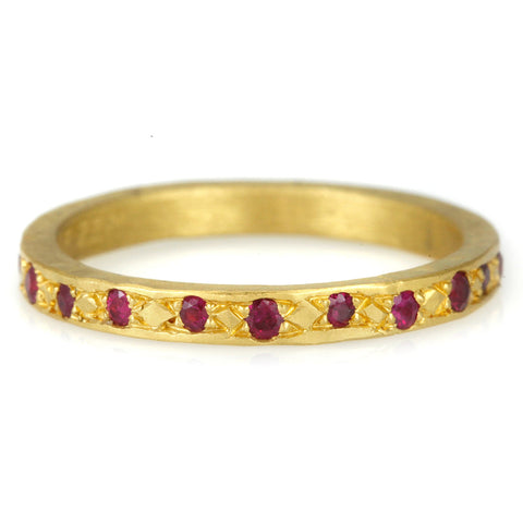 Annie Fensterstock 22K Gold Bead Set Ruby Ring
