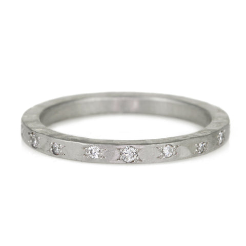 Hammered Platinum and Star Set Diamond Band