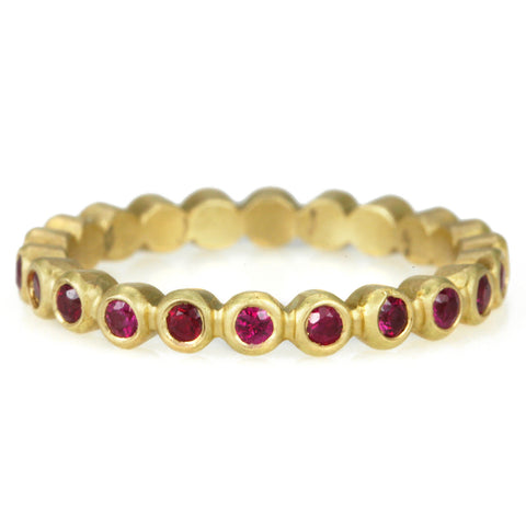 "Annie Fensterstock Gold Bezel-Set Ruby ""Raindrop"" Ring"