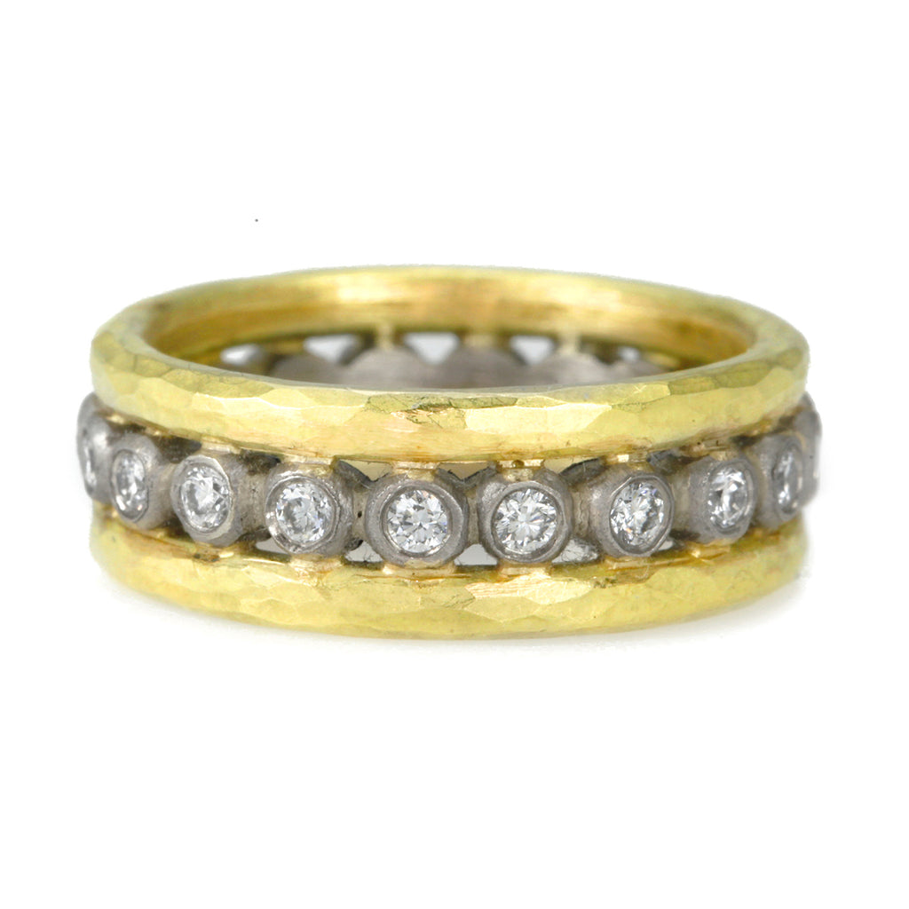 "Annie Fensterstock Yellow and White Gold ""Storm"" Ring with Diamonds"