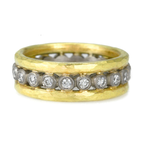 "Yellow and White Gold ""Storm"" Ring with Diamonds"