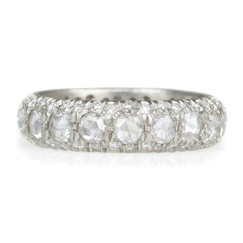 "Annie Fenstertock Platinum Full ""Laksmi"" Ring with Rose-Cut and Brilliant-Cut White Diamonds"
