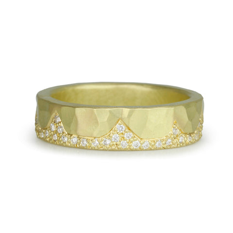 18 Karat Yellow Gold Hammered Ring with  White Diamonds