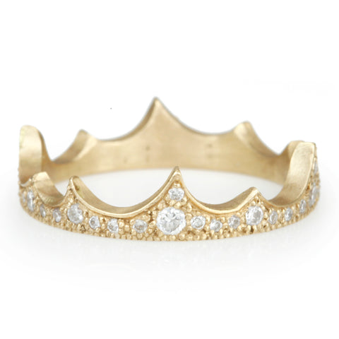 "Gold ""Summit Crown"" Ring with Pave Diamonds"