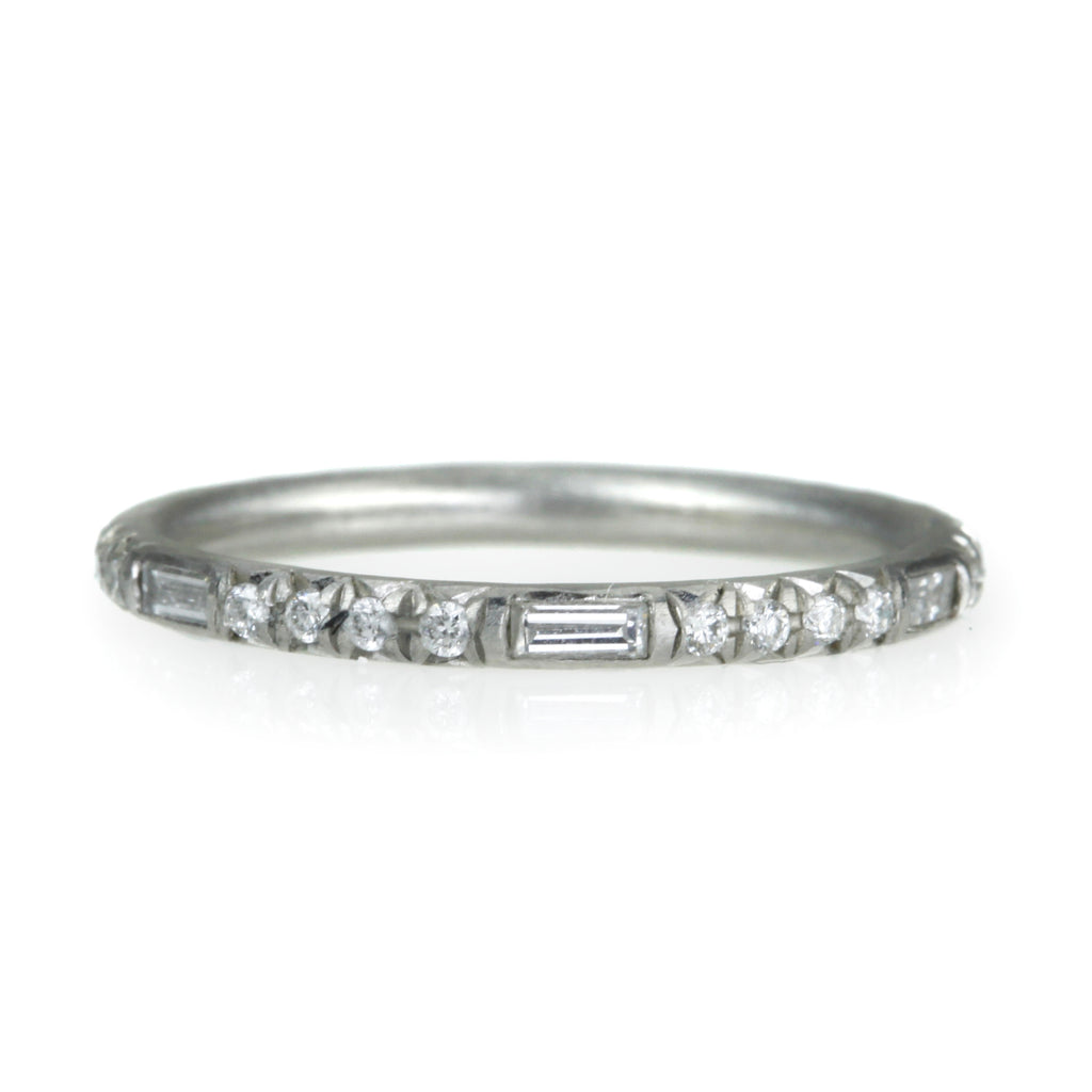 "White Gold ""Mandy Reprise"" Ring with Round and Baguette Diamonds"