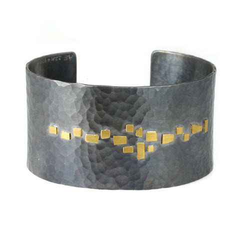 "Annie Fensterstock Hammered Blackened Sterling Silver ""Aerial"" Wide Cuff Bracelet"