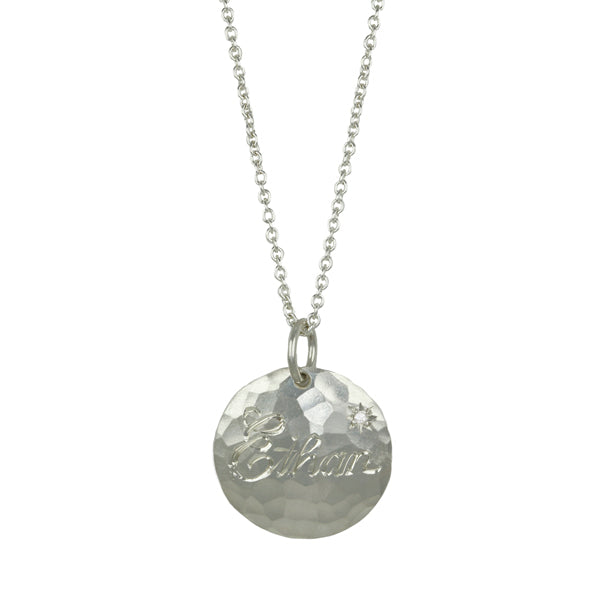"Sterling Silver ""Ethan"" Customizable Pendant Necklace with Diamond"