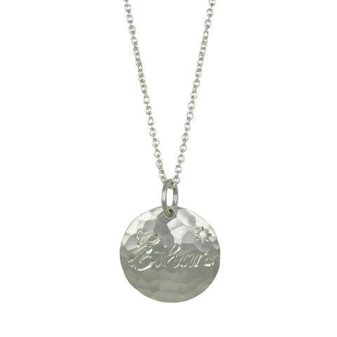 "Annie Fensterstock Sterling Silver ""Ethan"" Customizable Pendant Necklace with Diamond"