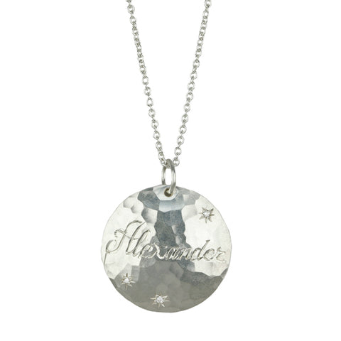 "Annie Fensterstock Sterling Silver and Diamond ""Alexander"" Customizable Pendant Necklace"