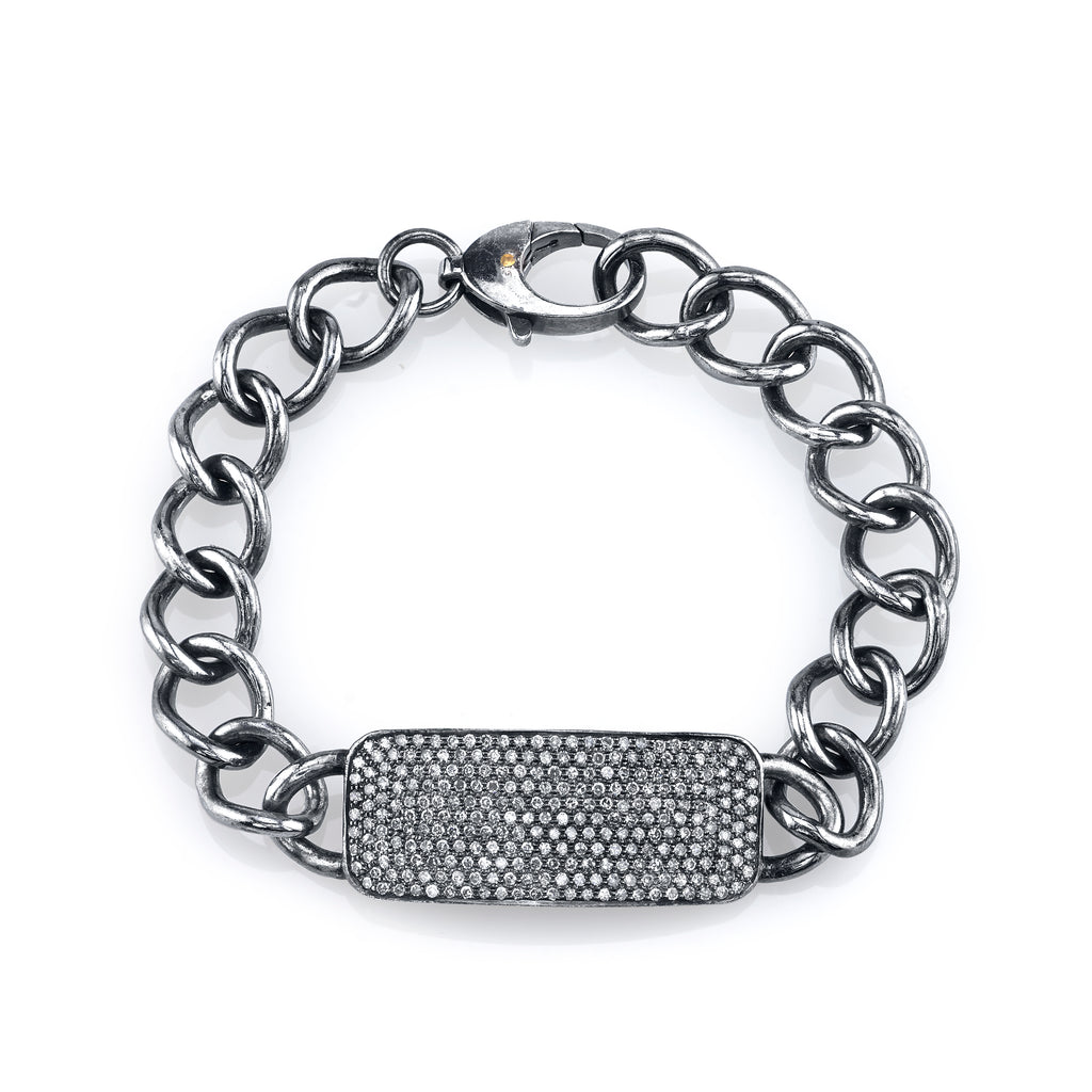 Oxidized Sterling Silver and Pave Diamond ID Tag Bracelet