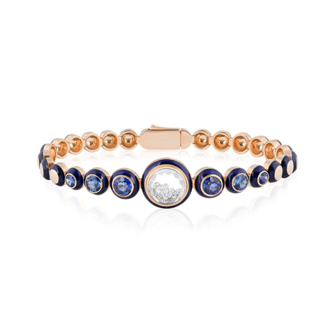 "Rose Gold and Blue Enamel Round Link Bracelet with Sapphires and Diamond ""Shake"""