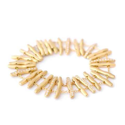 "Gold and Diamond ""Bamboo"" Double Chain Bracelet"