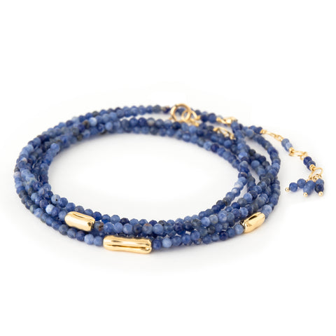 "Sodalite Beaded Wrap Bracelet with Three Gold Organic ""Logs"""