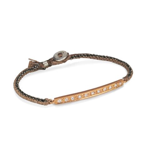 Brooke Gregson Rose Gold and Diamond Bar Silk Bracelet