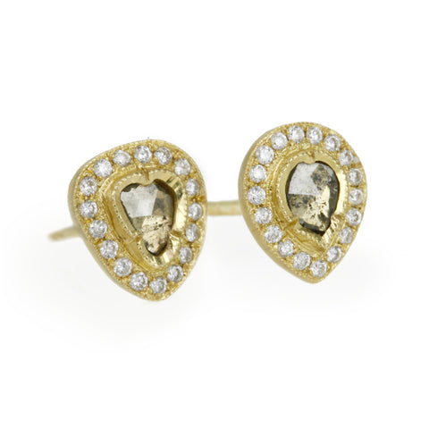 "Gold ""Raindrop"" Diamond Slice Post Earrings"