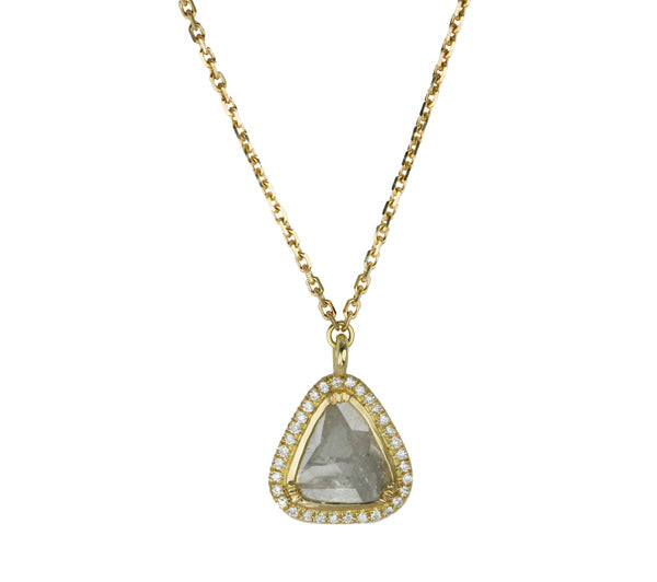 Gold and Grey Diamond Slice Necklace with Pave Diamond Halo
