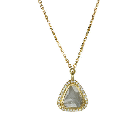 Brooke Gregson Gold and Grey Diamond Slice Necklace with Pave Diamond Halo