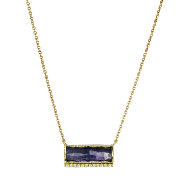 Brooke Gregson Gold Tanzanite Bar Necklace with Pave Diamonds