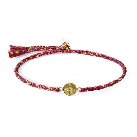 "Brass ""Compass"" Bracelet on Berry Mix Cotton Cord"