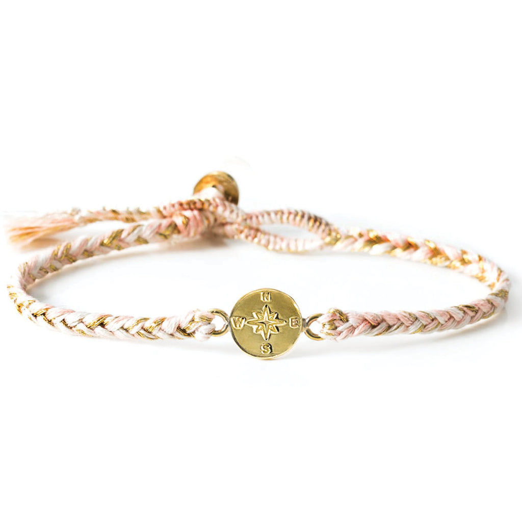 "Brass ""Compass"" Bracelet on Almond Blossom Cotton Cord"