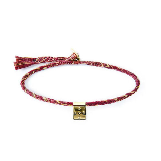 "Brass ""Brave"" Bracelet on Berry Mix Cotton Cord"