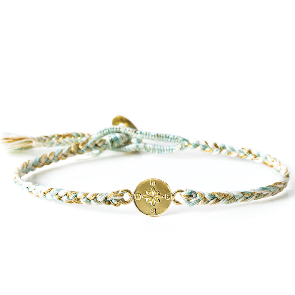 "Brass ""Compass"" Bracelet on Jasmine Cotton Cord"