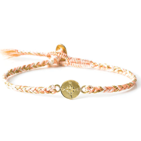 "Brass ""Compass"" Bracelet on Peony Cotton Cord"