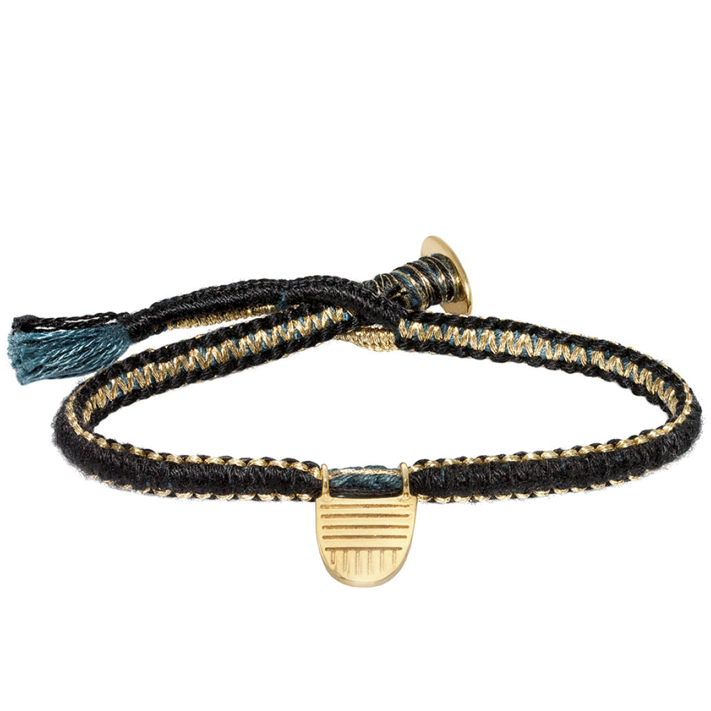 "Gold Vermeil ""Buddhist Flag"" Bracelet on Black Cotton Cobra Cord"