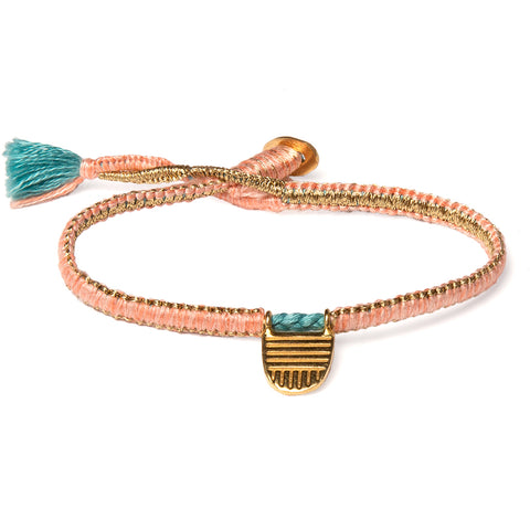 "Gold Vermeil ""Buddhist Flag"" Bracelet on Flamingo Cotton Cobra Cord"
