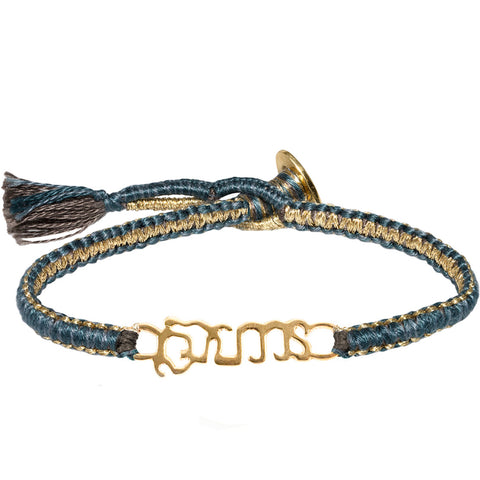 "Gold Vermeil ""Brave"" Bracelet on Teal Cobra Cord"