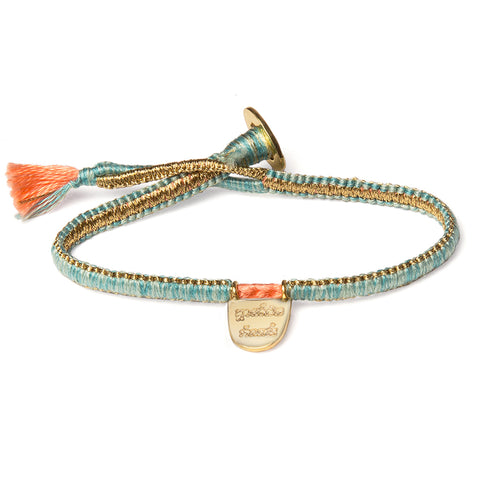 "Gold Vermil ""Without Limits"" Bracelet on Turquoise Cotton Cobra Cord"