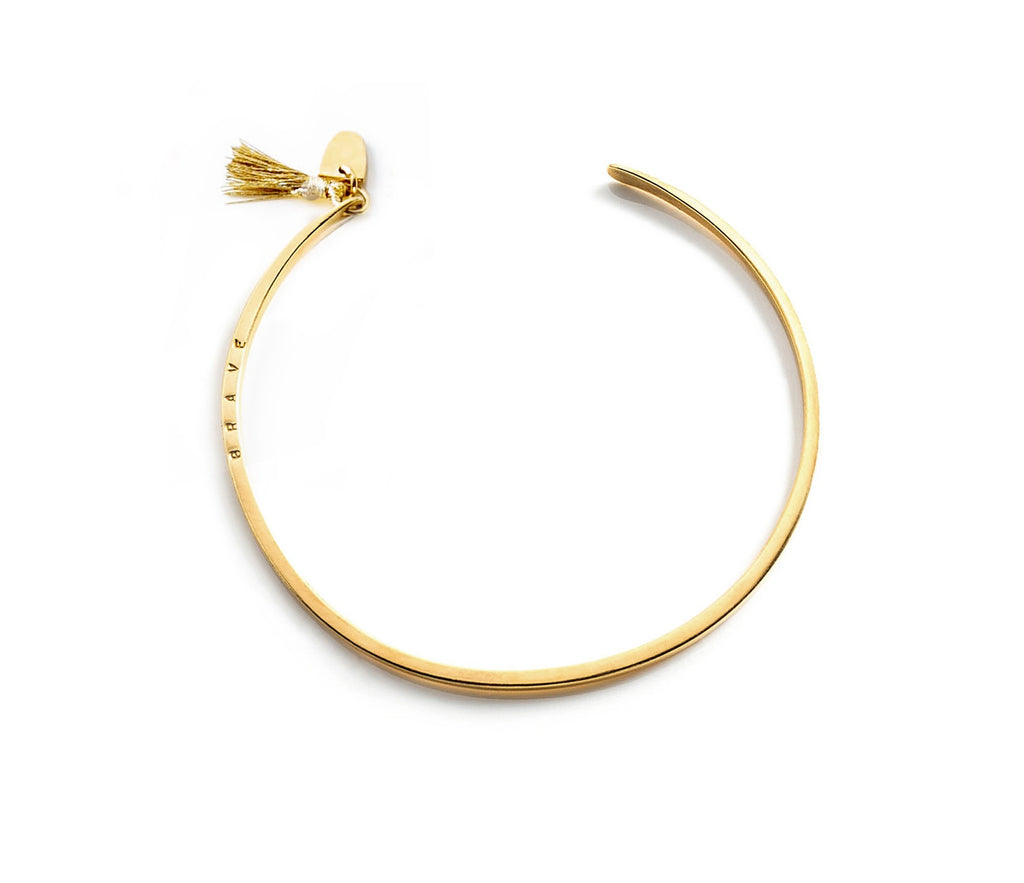 "Gold Plated ""Brave"" Gold Tassel Cuff"