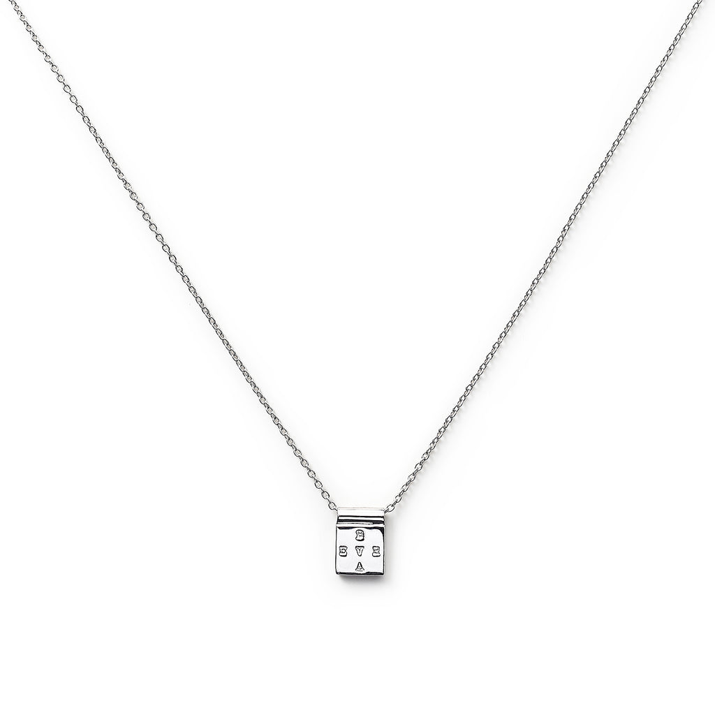 "Silver Square ""Brave"" Necklace"