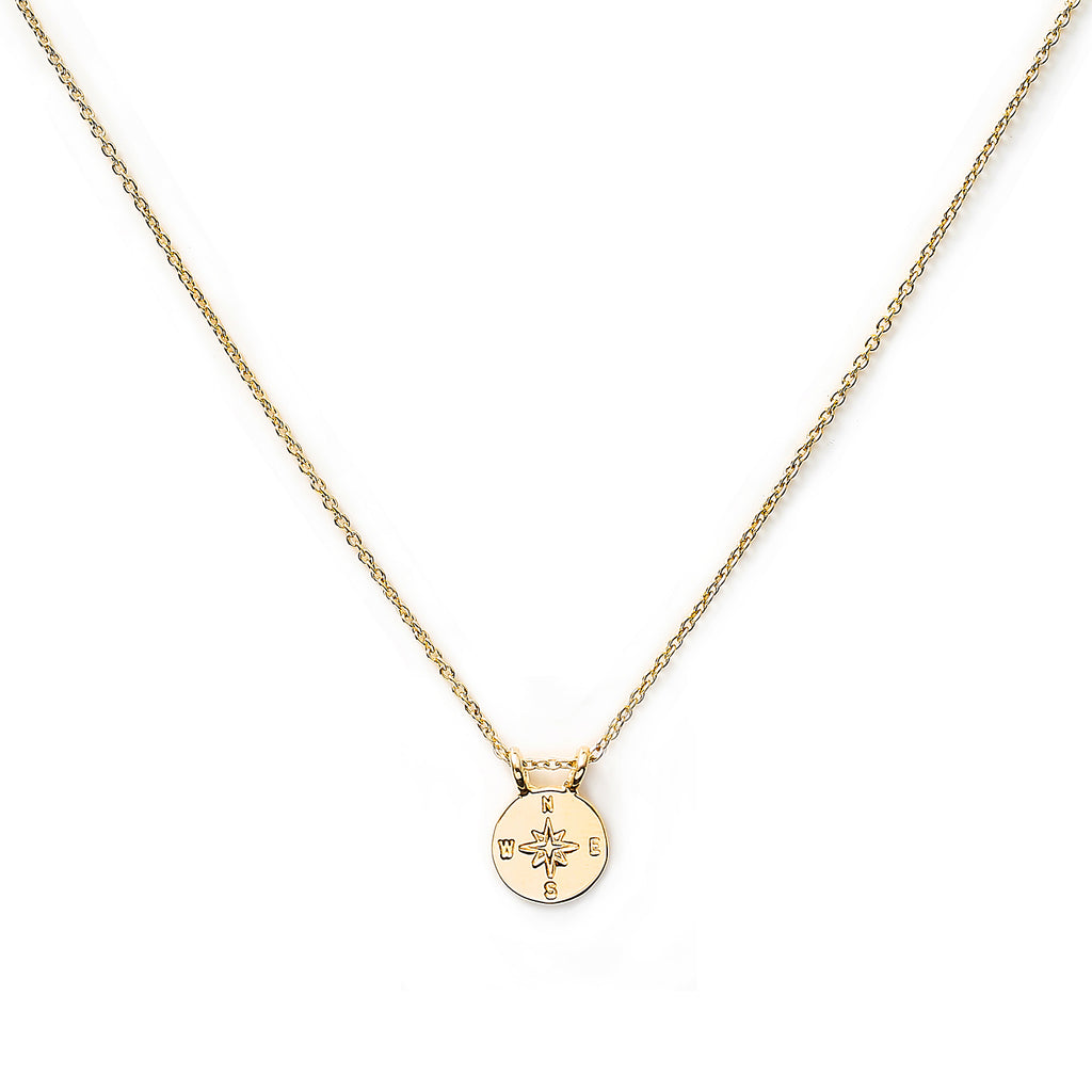 Gold Plated Necklace with Compass Charm